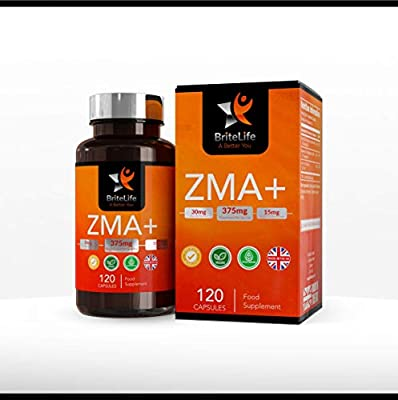 ZMA+ Capsules 420mg - Zinc, Magnesium & Vitamin B6 Supplement Blend by BriteLife | TESTOSTERONE BOOSTER | 120 Vegetarian Capsules | for Immune, Hormone, Athletic Support - Non-GMO, Gluten & Dairy Free from BriteLife