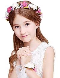 JYJHL Kranz Handgelenk Blume Zweiteiliger Anzug Kind Erwachsener Hochzeitskleid Mädchen Haarband Blumenmädchen Brautjungfer Haarschmuck,B-OneSize