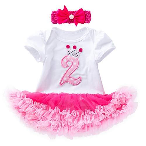 Lenfesh Kleid Baby Mädchen Festlich, 2 STÜCKE Kleinkind Neugeborenes Baby Mädchen Kurzarm Tutu Geburtstagskleid + Stirnband Outfits Set