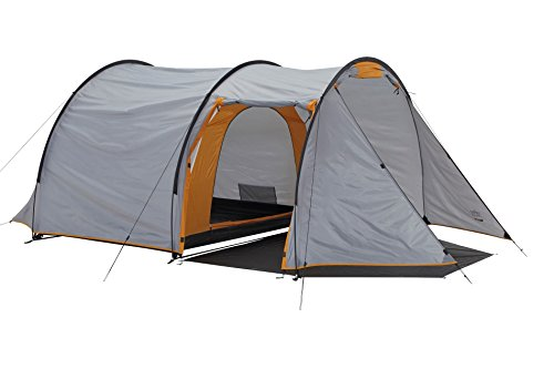 Grand Canyon Robson 3 - geräumiges Tunnelzelt, 3 Personen, 2 Eingänge, mit großen Stauraum, für Camping, Outdoor, Trekking, Festival, leichter Aufbau, grau/orange, 302018