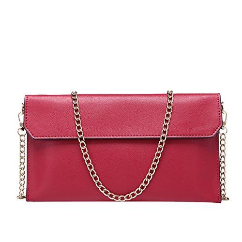 Dissa QQB058 Damen Ledertasche Clutch Unterarmtasche Abendtasche,26x2x15.5 B x T x H (cm) Rot