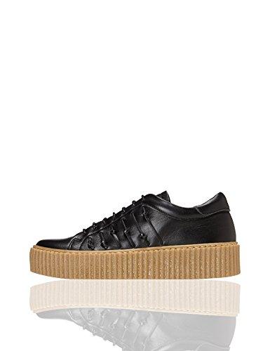 FIND Damen Sneaker mit Plateausohle, Schwarz (Black), 39 EU