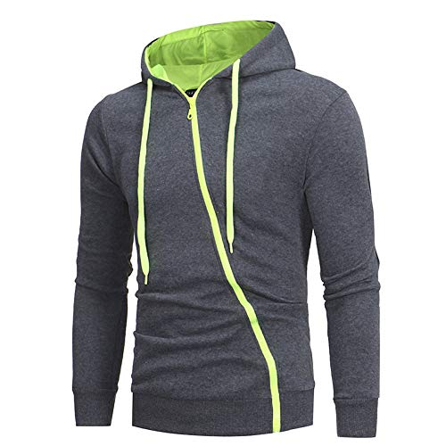 (Langarmshirts Sannysis Herren Slim Fit Hoodie Herbst Winter Basic Tops Reißverschluss Sweatshirt Outwear Kapuzenpullover)