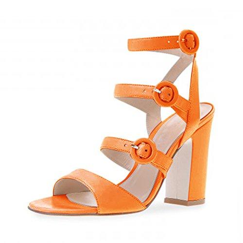 Damen Römersandalen Open Toe High-Heels Blockabsatz Slingback Schnalle Orange