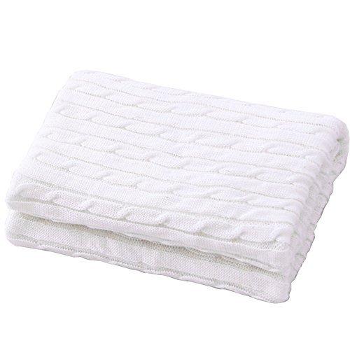 Gestrickte Baumwolle Kuscheldecke, HEHEINC Webpelzdecke Sofadecke Wohndecke Hochwertige Kuscheldecke, weich fließender Luxusqualität Tagesdecke, Decken Beige weiß