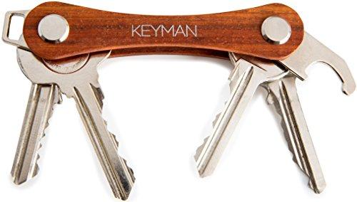 KEYMAN Organizzatore di chiavi in legno | Organizzatore chiavi con apribottiglie | Portachiavi con elegante confezione regalo | Portachiavi in legno | Key Organizer
