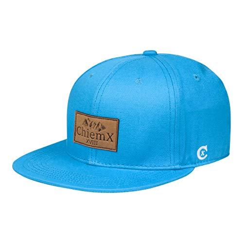 ChiemX Snapback Cap - Blau/Hellblau - aus Baumwolle und mit Kunstlederpatch - One Size Kappe für Herren und Damen