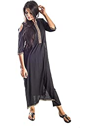 Bliss Black Cold Shoulder Kurta With Golden Zarri Lace