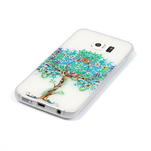 CaseHome Samsung Galaxy S6 Edge Luminous Hülle (Mit Frie Displayschutzfolie) Leuchtende Silikone Rückhülle Für iPhone 6 6s Plus 5.5 Zoll Zoll Silikon Etui Handy Hülle Weiche Transparente Luminous TPU  Baum des Lebens