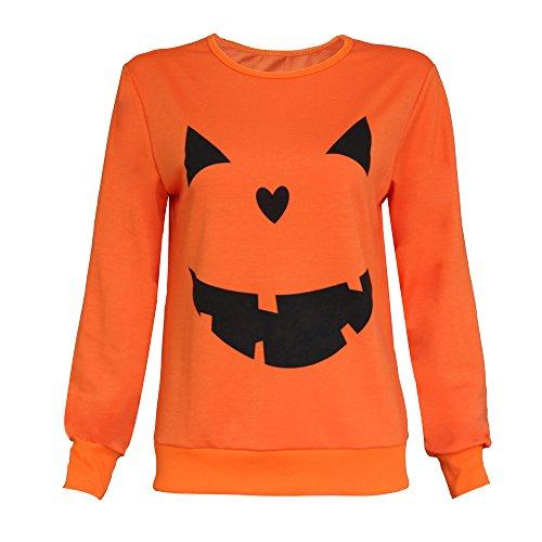 XXYsm Sweatshirt Damen Pullover Tops Blusen Langarm Shirt Oberteile O-Ausschnitt Halloween Kürbis Print Orange EU 34(S)
