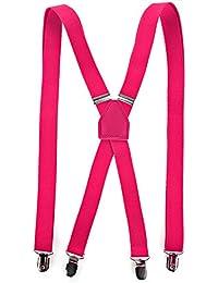 RAY±JAY Schmale Hosenträger X-Modell bis 1,90m mit extra starken Clips (pink)