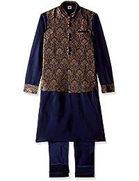 Manyavar Men's Blended Kurta Paired with Churidar & Nehru Jacket (JAST020)