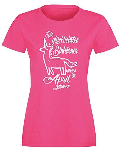 Die Glücklichsten Einhörner werden im April geboren! Perfektes Geschenk zum Geburtstag - Damen Rundhals T-Shirt Fuchsia/Weiss