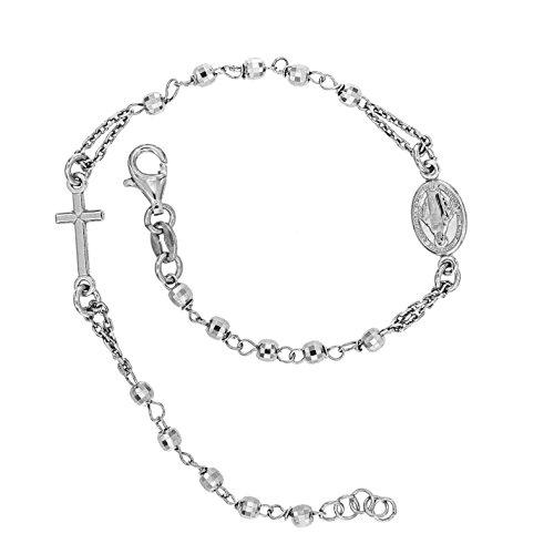 Armband Damen Mann Frauen Kinder Mit Rosenkranz Kreuz Armkette Silber 925/ schmuck Armkettchen Und Damenarmband Neben Uhr/geschenkidee/hergestellt In Italien Zweite Generation Facettenkugeln
