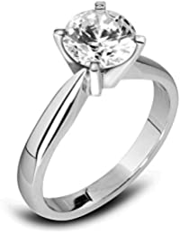 Abelini 9K White Gold Certified I1/HI 100% Natural Round Solitaire Diamond Engagement Rings for Women (Available in 0.10-1.00CT)