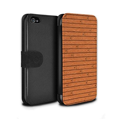 Stuff4 Coque/Etui/Housse Cuir PU Case/Cover pour Apple iPhone 4/4S / Pack Design / Motif Bois Collection Orange