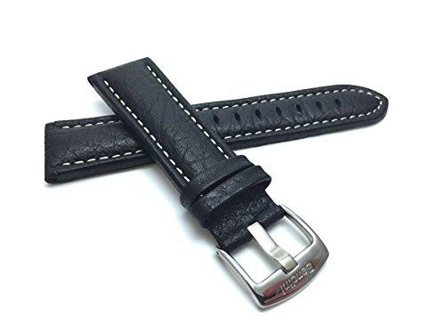 Leder Uhrenarmband 30mm für Herren, Schwarz, klassischer Stil, Büffelmotiv, mit weißer Naht, Schließe Edelstahl, auch verfügbar in braun und hellbraun