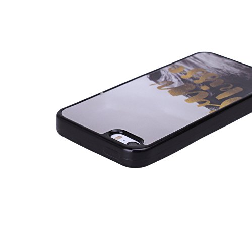 iPhone 5S Case,[Unique Pattern][Flexible and NO Deformation][Acrylic Material][Cellphone Camera Protection]Smooth Back Case--Black Beach Pink Sky