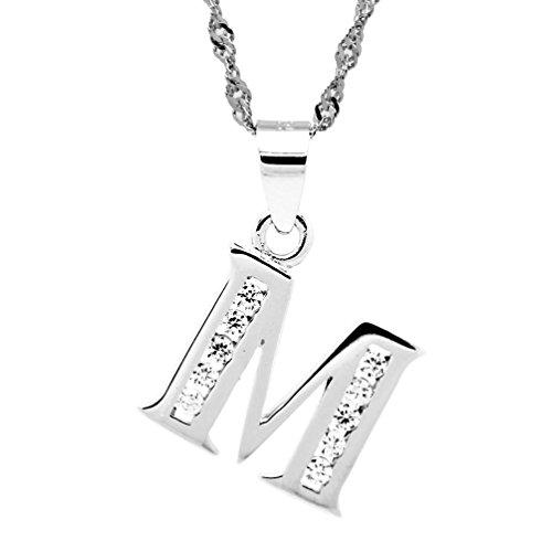 Chaomingzhen Schmuck 925 Sterling Silber Rhodiniert CZ Alphabet Anfangs Buchstabe M Anhänger Halskette für Damen Männer