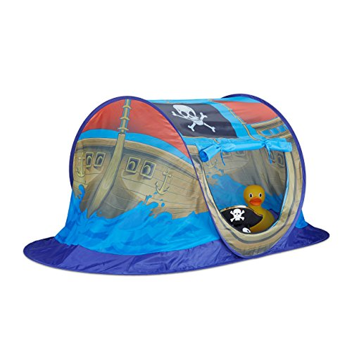 Piratenschiff für Jungen, Pop Up Kinderzelt für Innen & Outdoor, Piratenzelt HxBxT 68x170x85cm, blau ()