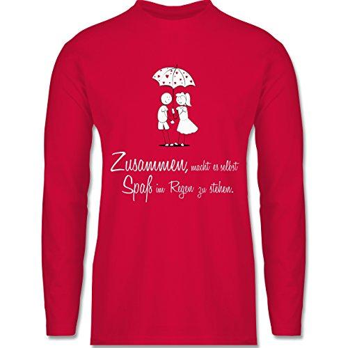 Shirtracer Romantisch - Zusammen - Macht ES Spaß IM Regen zu Stehen - Herren Langarmshirt Rot