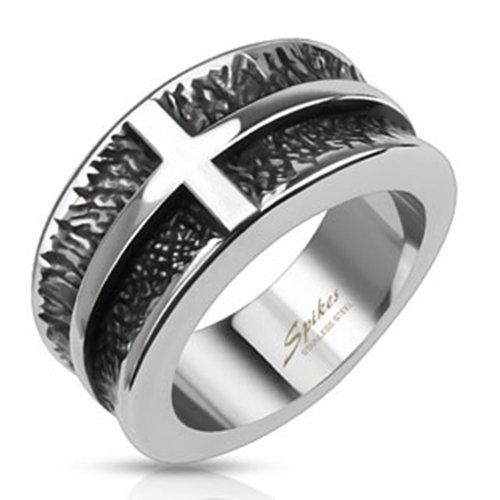 BlackAmazement para Mujer, Hombre Cruz cross anillo cinta acero tribal motorista gótico