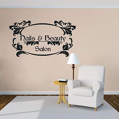 JXweilele Nail Art Wandapplikation Beauty Salon Nail Wall Vinyl Aufkleber Nail Salon Fensterapplikation Nail Beauty Logo Fototapete 76x42cm