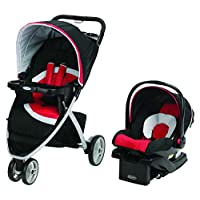 Graco Travel System Stroller, Car Seat With Bag - Black/Red/White