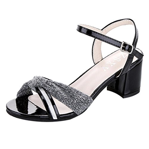 Transer® Damen Sandalen Mid-heeled Knoten PU-Leder+Gummi Silber Gold Schwarz Rosa Sandalen (Bitte achten Sie auf die Größentabelle. Bitte eine Nummer größer bestellen) Schwarz