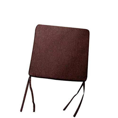 Fheaven Japanische Stuhlmatte, 45 x 45 cm, waschbar, einfarbig, Baumwolle/Leinen, Tatami-Matte braun