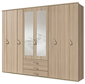 wimex 401681 kleiderschrank 6 t rig 270 x 220 x 58 cm ausf hrung edelbuche nachbildung. Black Bedroom Furniture Sets. Home Design Ideas