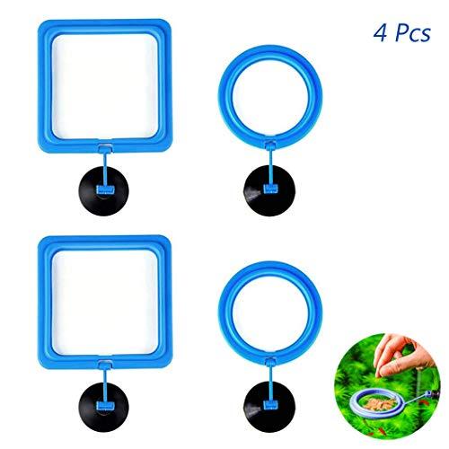 4 Stück Fisch Fütterungsring Quadrat und Runde Form / Feeding Station - Hatisan Aquarium Fütterungsring / Saugnapf Schwimmende Lebensmittel Kreis, umweltfreundliche Fisch Safe Food Feeder