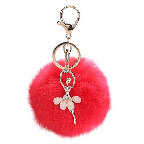 Byste 8cm cute danza angelo portachiavi pendente donna portachiavi pompom chiave catene, peluche portachiavi, ideale come decorazione per personalizzare zaino, borsa (rosso)