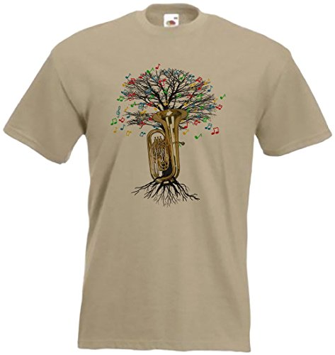 Tuba T-Shirt Musical Tree tubaist Messing Instrument in Allen Größen Gr. XL, Hellbraun