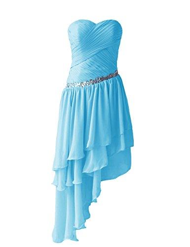 Dressystar Robe de femme Robe de soirée/bal courte, à Traîne Asymétrique,en Mousseline Bleu