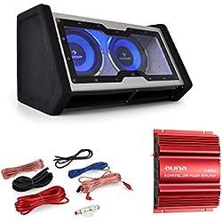Electronic Star Cornwall • Ensemble hi-fi pour voiture • Amplificateur de puissance à 2 canaux avec 2 x 500W max. Performance • Ensemble complet 0.1 avec caisson de basses 2x25cm (2x10) pour 2000W max. Puissance • Effet lumineux LED