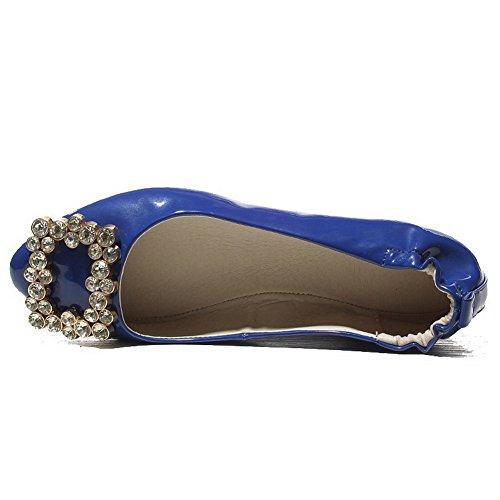 AllhqFashion Femme Tire Non Talon Verni Couleur Unie Rond Chaussures à Plat Bleu