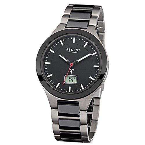 Regent Herren-Armbanduhr Elegant Analog Titan Keramik-Armband schwarz grau Funk-Uhr URFR219