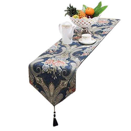FJH Chemin de table Cyan Table Drapeau Tissu Carte De Fleurs Simple Mode Européenne Café Lit Hôtel De Mariage Banquet Décoration 32 cm * 180 cm (taille : 180cm)