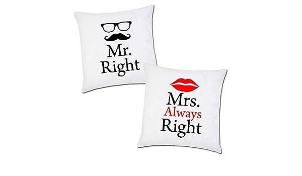 Cuscini Mr Right Mrs Always Right.Coppia Di Federe Per Cuscini Con Stampa Mr Right Mrs Always