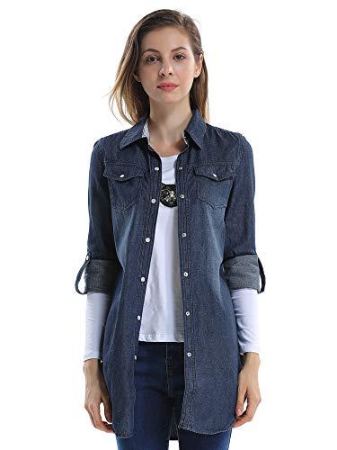 OCHENTA Camisas Jean Blusa Manga Larga -para Mujer Azul Oscuro Lable 2XL-ES 44