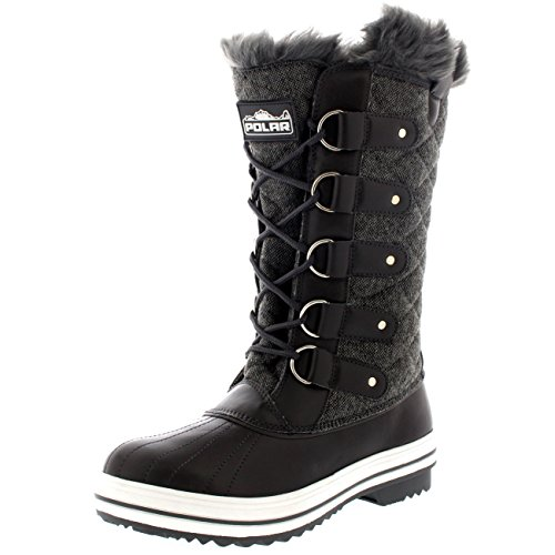 Womens Snow Boot Quilted Tall Winter Snow Waterproof Warm Rain Boot -...