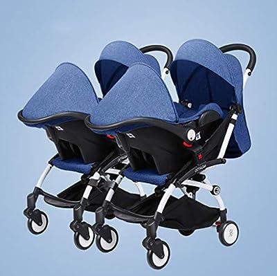 BABY CARRIAGE ZLMI Twin bebé Cochecito Ligero Plegable portátil Plegable Cesta BB Coche Puede Sentarse/reclinar de Dos vías Ajustable para 0-3 años de Edad,Blue#2