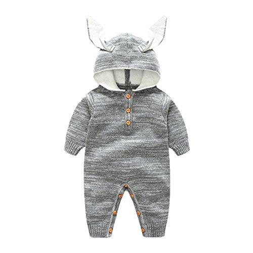 Gestrickter Strampler Overall Jumpsuit aus Baumwolle Hase Tieroutfit Tier Kostüm mit Kapuze für Jungen Mädchen Grau 66 ()