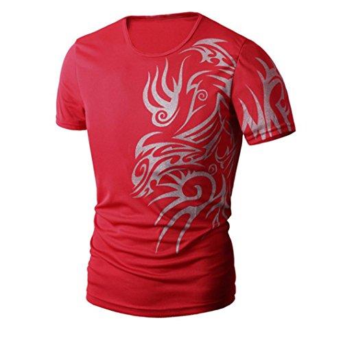 Shirts Herren, GJKK Herren Sommer Mode Druck O-Ausschnitt Männer Kurzarmshirt Sportstyle Fitness T-Shirts Basic Shirt (Rot, L) (Crew Shirt Frühjahr)