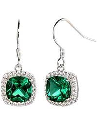 Ornate Jewels Emerald Cushion Danglers in 925 Silver for Women and Girls OJE5009EM