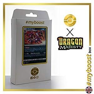 Hydreigon 33/70 Holo Reverse - #myboost X Sun & Moon 7.5 Dragon Majesty - Box de 10 cartas Pokémon Inglesas