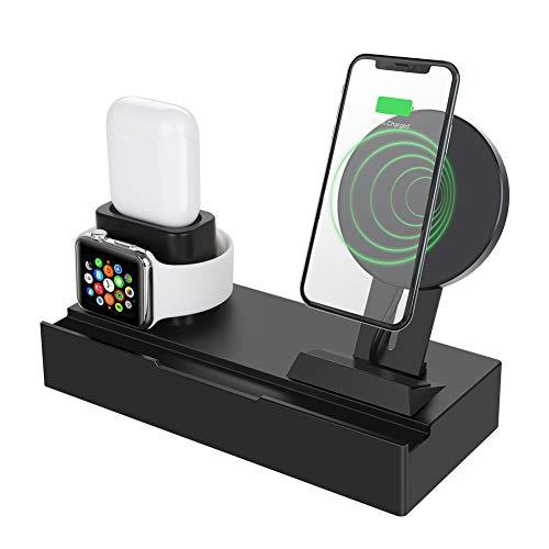 ValueTalks Multi Ladestation Wireless Ladegerät für mehrere Geräte 10W Handy-Induktionsladegeräte Dock Ladeständer für iPhone XS Max/XS/XR/X Apple Watch AirPods