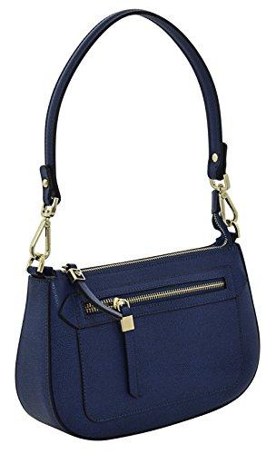ALLEGRA Borsa a Mano Borsa Spalla Vera Pelle Cuoio Donna Moda Made in Italy Blu