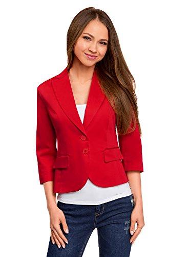 oodji Collection Damen Blazer mit 3/4-Arm, Rot, DE 40 / EU 42 / L (Drei-knopf-blazer Mit Baumwolle)